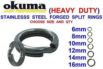 Okuma Heavy Duty Forged Split Rings Stainless Steel  For Plugs Spoons Pirks Rigs