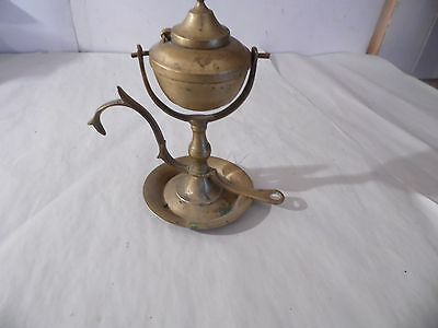 Vintage SHIP NAUTICAL BRASS WHALE OIL LAMP Hinged Wall Sconce Rare !