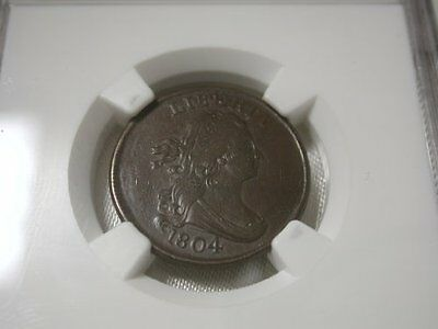 1804 Draped Bust Half Cent BN NGC AU-55 Cross 4 No Stems