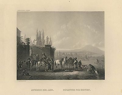 c1850 Aufbruch zur Jagd. Departure for Hunting Stahlstich Payne nach Wouvermann