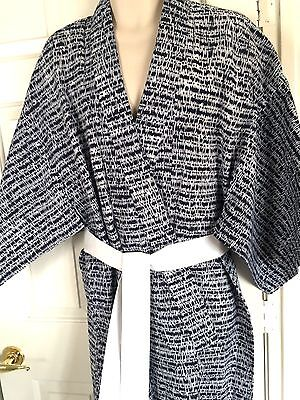 "Men Yukata Cotton Japanese Robe Sleepwear Kimono Blue Hand Made M 44x55"" Y124"