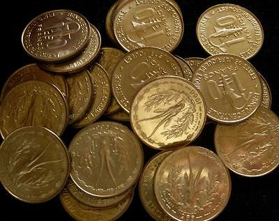 French West Africa 10 Francs 1966 BU lot of 25