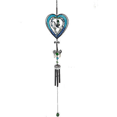 Large Blue Heart, Flower & Butterfly Colourful Wind Chime - Glass, Metal, Resin
