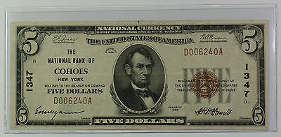 1929 Type 1 $5 Dollar National Currency Banknote Cohoes New York Charter # 1347
