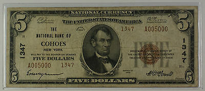 1929 Type 2 $5 National Currency Banknote Cohoes NY Charter # 1347 *See Serial #