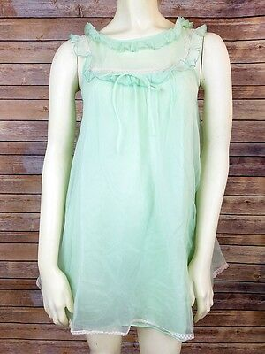 Evette Womens Size Small Vintage Lingerie Night Gown Double Layer Chiffon Lace