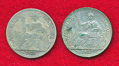 French Indo-China 1923 & 1937 10 CENTS (2 Coins)  .1180 ounces of SILVER!