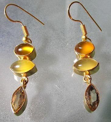 14K Gold plated brass yellow onyx & cut citrine stones earrings.