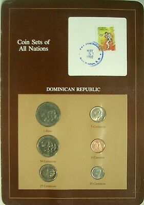 Dominican Republic 1983-87 Coin Sets of All Nations, 6 Coins & Cancelled Stamp