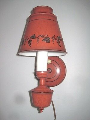 Vintage Red & Black Tole Metal Mid Century 1960s Wall Sconce Lamp Light