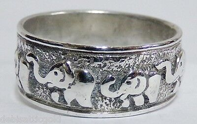 SOLID 925 Sterling Silver Baby ELEPHANT Walk Ring Sz 8.25 Ladie's Band Trunk Up