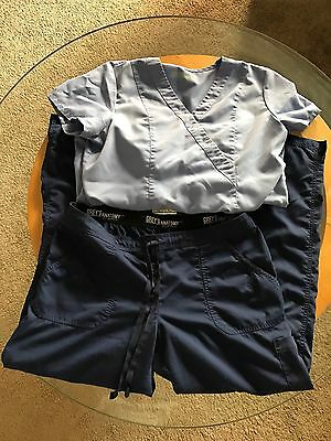 Grey's Anatomy 2-Piece Uniform Scrub Set CeIl Top  & Navy Pants Sz L Large