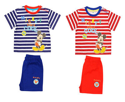 Mickey Mouse Baby Boys T Shirt and Shorts 3-24 Months 100% Cotton