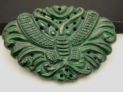 Vintage Natural Green Malachite Hand Carved Lucky Moth Amulet Pendant Cord