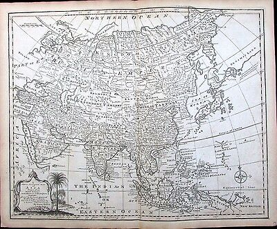 Arabia Asia Mogul Empire India Persia China Korea De Gama 1766 antique Bowen map