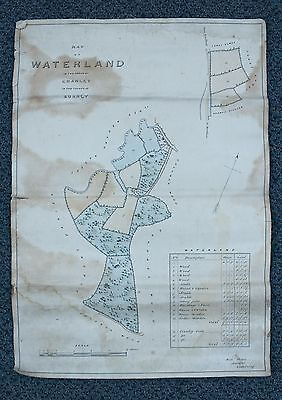 Antique Detailed Survey Matted Map Of Waterland Farm In Cranley, Surrey, England