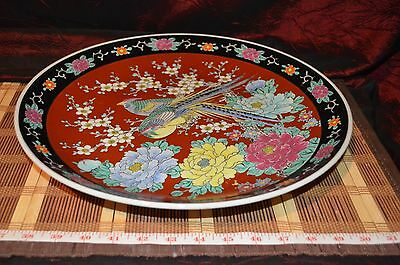 """Large Asian Porcelain Tray Platter Wall Plate Pheasant and Floral 14 3/4"""""""
