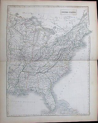 Eastern United States huge Iowa Territory 1844 antique Black Hughes Hall map
