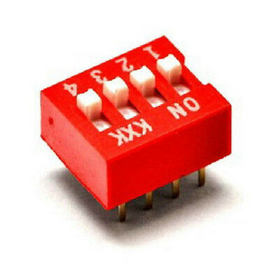 Hot 10Pcs DIP Red 2.54mm Pitch 8 Pins 4 Positions Ways Slide Type Switchs