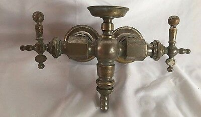 Early Antique Nickel Brass Claw Foot Bathtub Faucet Vtg Peck Bros Fixture 94-17J