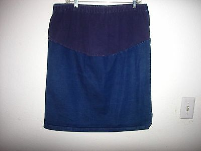 Size XL blue denim maternity straight pencil skirt with front panel