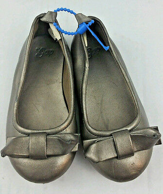 Baby Gap Gold Ballet style Shoes size 5 Infant Girls Pewter a2