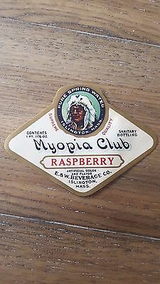 Vintage MYOPIA CLUB RASPBERRY Spring Water Paper Label Islington, MASS. E & W