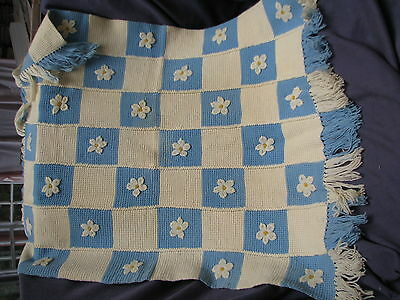 Vintage, hand-made baby blanket, blue and white baby wool with flowers