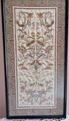 Framed Vintage Chinese Embroidery Silk Panel of Birds and Flowers, Brocade