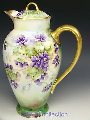Beautiful Limoges France Hand Painted Violets Chocolate Pot