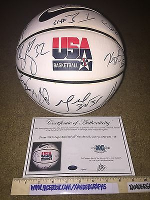 Team Usa Olympic Signed Logo Basketball-Russell Westbrook Stephen Curry +19