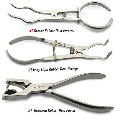 Set Of 3 Dental Rubber Dam Ainsworth Hole Punch Plier Ivory Light Brewer Forceps