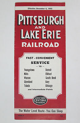 December 1953 Pittsburgh and Lake Erie Railroad Timetable P&LE PLE Railway Line