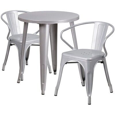 24in Round Silver Metal Indoor-Outdoor Table Set with 2 Arm Chairs NEW