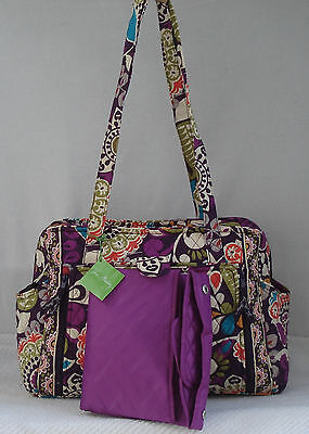 Vera Bradley Diaper Bag & Changing Pad MAKE A CHANGE BABY BAG Retired PLUM CRAZY