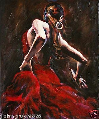 Spanish Flamenco Dancer in Red Dress Oil Painting on Canvas (no Framed)