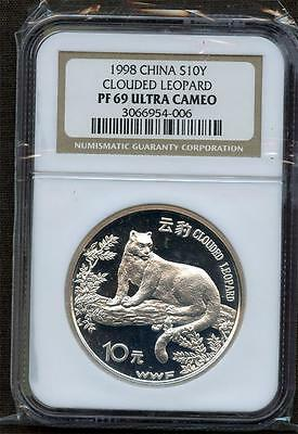 "*1998 China 10 Yuan ""clouded Leopard""  Ngc Pf 69 Ultra Cameo Please Lqqk!!!"