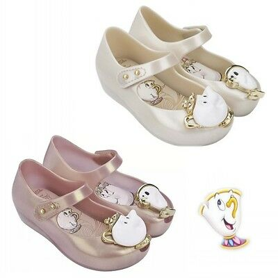 Girls Beauty And The Beast  Party Jelly Shoes Chip Princess Pearl Ballet Shoes