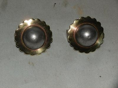 Antique Pair Of Victorian Solid Brass Bulls Eye Horse Brass Rosettes.