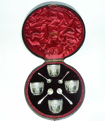 Antique Boxed Set Four Solid Silver Salts, Blue Liners & Spoons Circa 1894