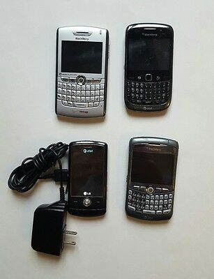 Lot of 4 Phones Blackberry LG NOT TESTED