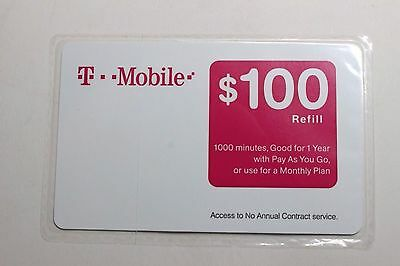 T-MOBILE $100 PREPAID REFILL CARD (New - Unscratched)