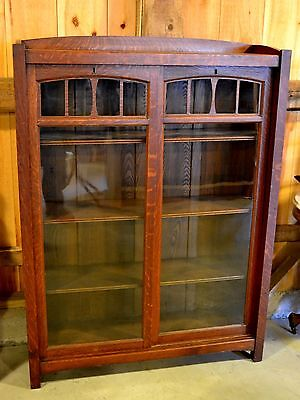 MAGNIFICENT MISSION ARTS & CRAFTS BOOKCASE w/SLIDING DOORS ~ EXC ORIGINAL FINISH