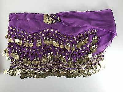 Purple 3 Tier Belly Dancing Hip Scarf With Gold Colored Coins