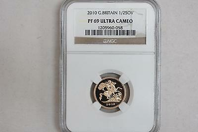 2010 Great Britain 1/2 Sovereign Proof Gold Coin NGC PF 69 Ultra Cameo From Set!