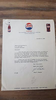 VINTAGE 1946 PEPSI COLA Letterhead from the Long Island New York Plant