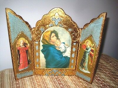 X-Large Aqua Gilt Tole Wood Antique Italian Florentine Madonna Angels Triptych