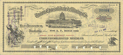 Stock Certificate - 1934 - Union Consolidated Mining Co.