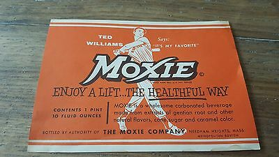 Vintage Original TED WILLIAMS MOXIE SODA PAPER LABEL NOS WWII 1955