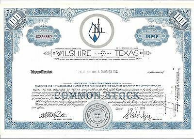 Wilshire Oil Company Of Texas......1969 Stock Certificate